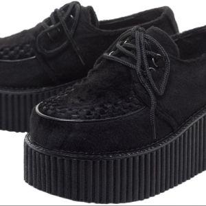 Demonia Black Fur Plateau Shoes