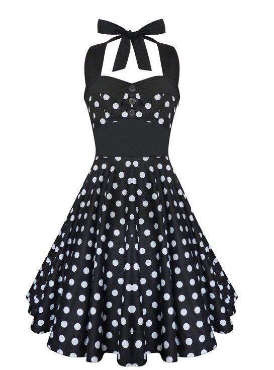 Lady Mayra Rockabilly Dress Black and White