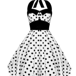Lady Mayra Rockabilly Dress White and Black