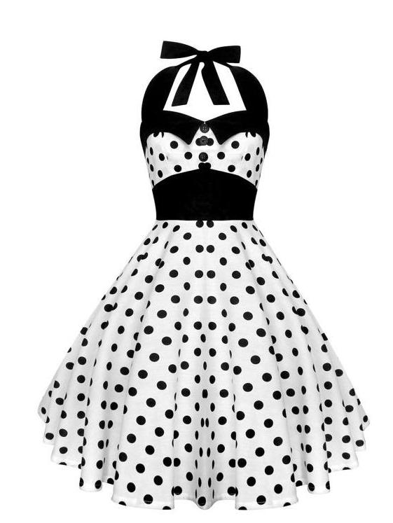 Lady Mayra Rockabilly Dress White and Black