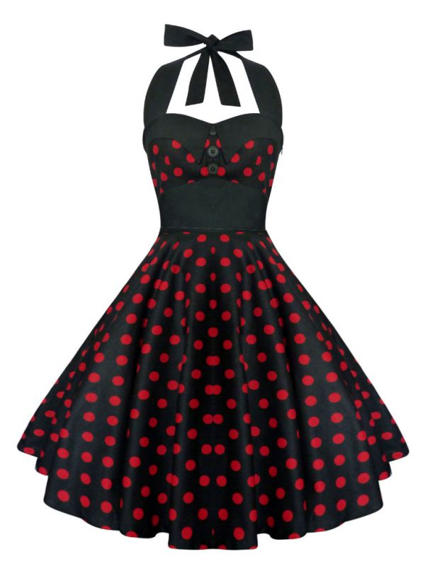 Lady Mayra Rockabilly Dress Black and Red