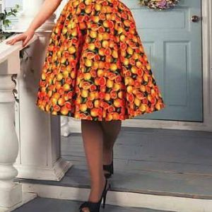 Lady Mayra Rockabilly Orange Skirt
