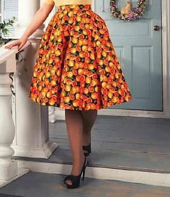 Lady Mayra Rockabilly Orange Skirt