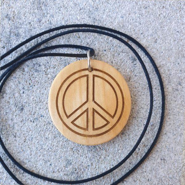 Holzamulett mit Motiv Peace
